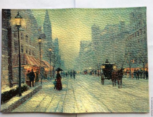 Кожаная обложка, зима, зимний день, обложка для паспорта, обложка для автодокументов, подарок на Новый год, подарок на любой случай, красивая обложка, старинный город