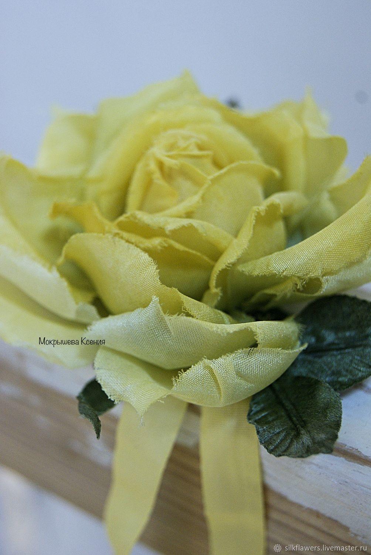 """Браслет из шелка """"Жёлтая роза"""", Браслет из бусин, Пермь,  Фото №1"""