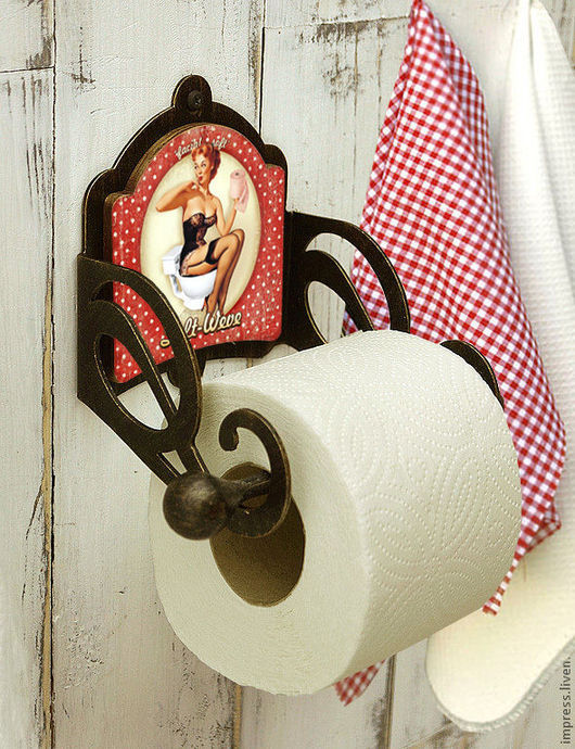 Ванная комната ручной работы. Ярмарка Мастеров - ручная работа. Купить держатель для туалетной бумаги PinAp. Handmade. Чёрно-белый