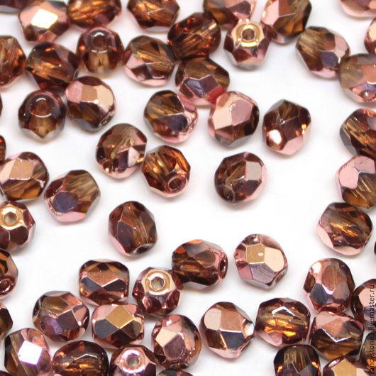 Для украшений ручной работы. Ярмарка Мастеров - ручная работа. Купить 50шт 4мм Чешские граненые бусины Топаз/медь Fire polished beads. Handmade.