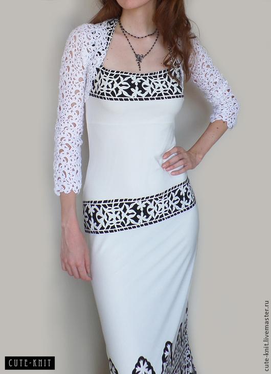 Чтобы лучше рассмотреть модель, нажмите на фото CUTE-KNIT Ната Онипченко Ярмарка мастеров  Купить ажурное болеро белого цвета