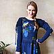 """Платья ручной работы. Платье синее """"Семья соек в винограде"""". Alena Barabulka. Ярмарка Мастеров. Платье вязаное, объемная вышивка"""
