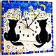 Часы для дома ручной работы. часы из стекла, фьюзинг   Томный вечер. Лилия  Горбач-ФЬЮЗИНГ. Ярмарка Мастеров. Лилия Горбач