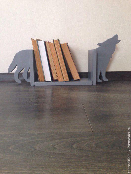 Мебель ручной работы. Ярмарка Мастеров - ручная работа. Купить Подставка для книг - волк. Handmade. Полка, деревянная полка, дерево