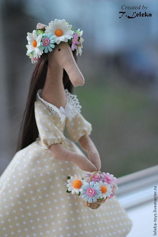 Коллекционные куклы ручной работы. Ярмарка Мастеров - ручная работа. Купить Весенняя Лошадка в Ромашках. Handmade. Лимонный, ромашка