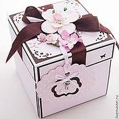 Свадебный салон ручной работы. Ярмарка Мастеров - ручная работа Коробочка для денег Magic Box розово-шоколадная. Handmade.