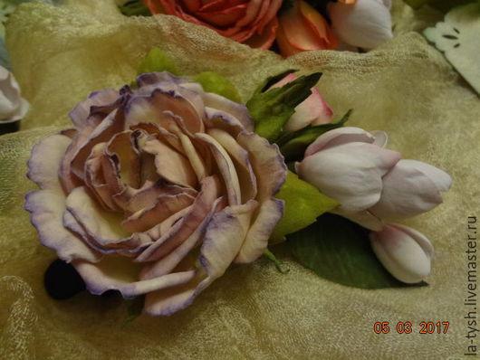 """Заколки ручной работы. Ярмарка Мастеров - ручная работа. Купить Заколка-роза """"лавандовые сны"""".. Handmade. Бледно-сиреневый, фоамиран"""