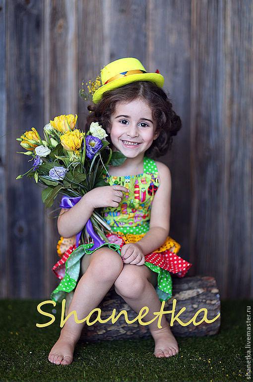 Одежда для девочек, ручной работы. Ярмарка Мастеров - ручная работа. Купить Платье летнее фартук для девочки хлопковый Букашки. Handmade.