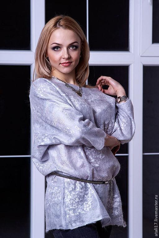 Блузки ручной работы. Ярмарка Мастеров - ручная работа. Купить Блуза Серый жемчуг-войлок. Handmade. Серый, авторская одежда