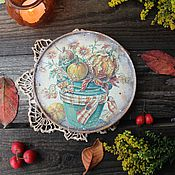"""Для дома и интерьера ручной работы. Ярмарка Мастеров - ручная работа """"Кантри осень"""" тарелка. Handmade."""