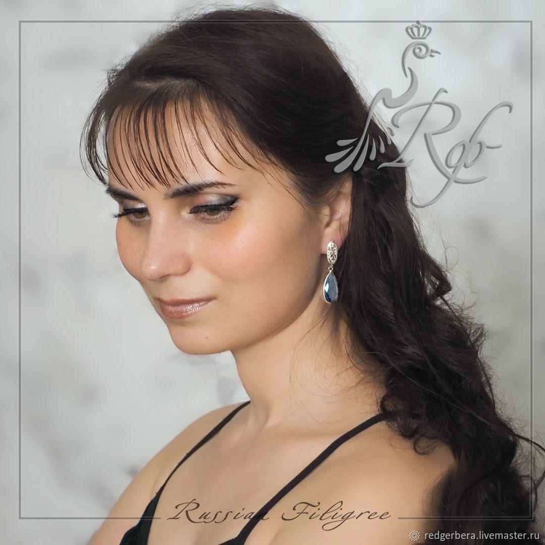 Earrings 'Patterns' - blue quartz, silver 925, Earrings, Kostroma,  Фото №1