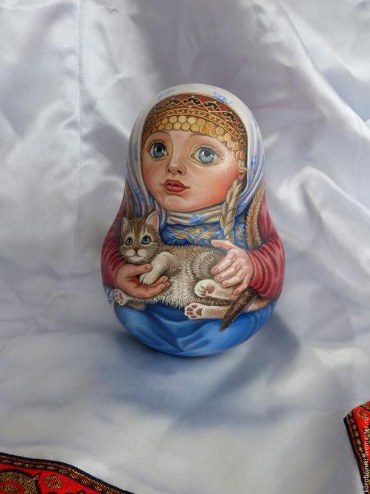 """Яйца ручной работы. Ярмарка Мастеров - ручная работа. Купить """"Девочка с котёнком"""". Handmade. Комбинированный, неваляшка со звоном"""