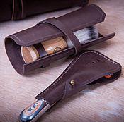 Сумки и аксессуары handmade. Livemaster - original item Set: Case for razor and shaving brush case made of genuine leather. Handmade.