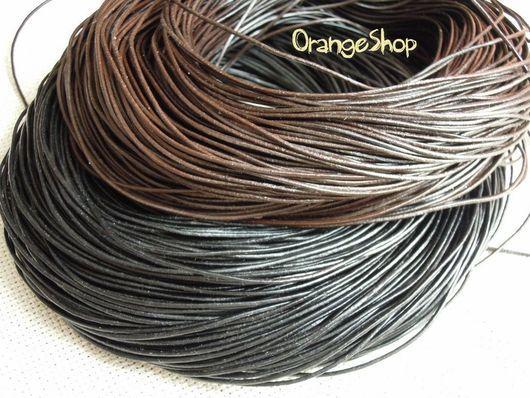 Для украшений ручной работы. Ярмарка Мастеров - ручная работа. Купить Шнур кожаный 1-1.5-2 мм черный, коричневый. Handmade.