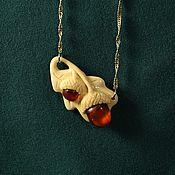 Украшения handmade. Livemaster - original item Autumn Duet pendant made of amber and mammoth tusk. Handmade.
