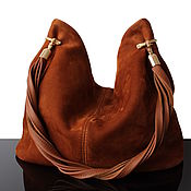 Сумки и аксессуары handmade. Livemaster - original item Granville Red hobo bag genuine suede. Handmade.