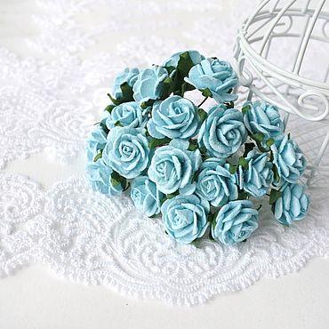 Цветы и флористика ручной работы. Ярмарка Мастеров - ручная работа Бумажные цветы Бирюзовые 2 см Бумажные розы для скрапбукинга. Handmade.