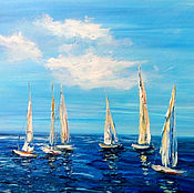 Картины и панно handmade. Livemaster - original item Oil painting. Sea. Sails. Handmade.