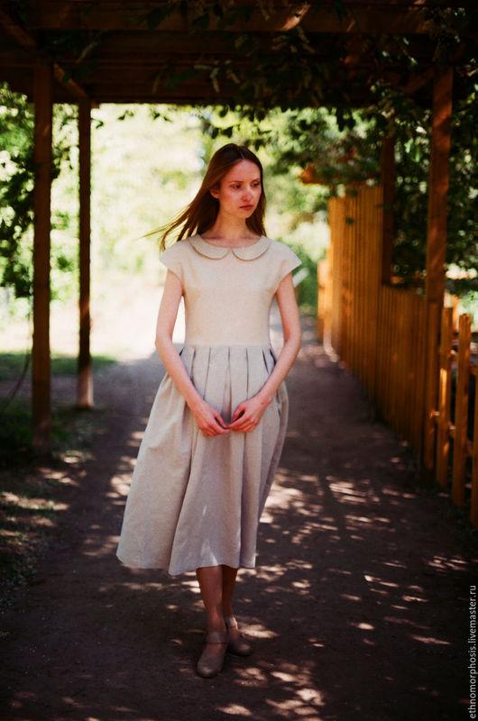 Платья ручной работы. Ярмарка Мастеров - ручная работа. Купить Платье Перламутр. Handmade. Бежевый, платье из льна, лён