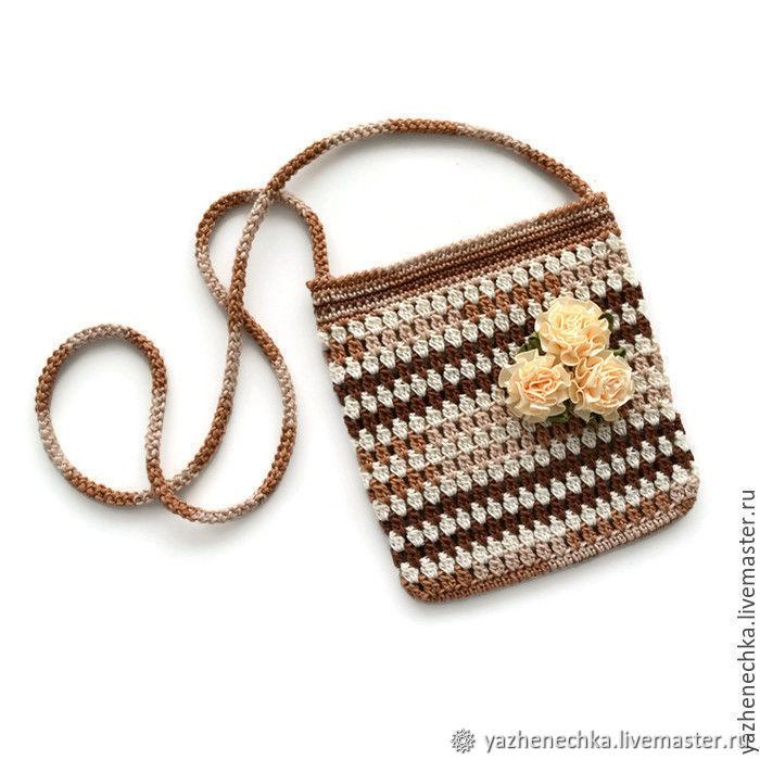 A handbag and a bracelet for girls knitted cotton set, Bags, Yurga, Фото №1