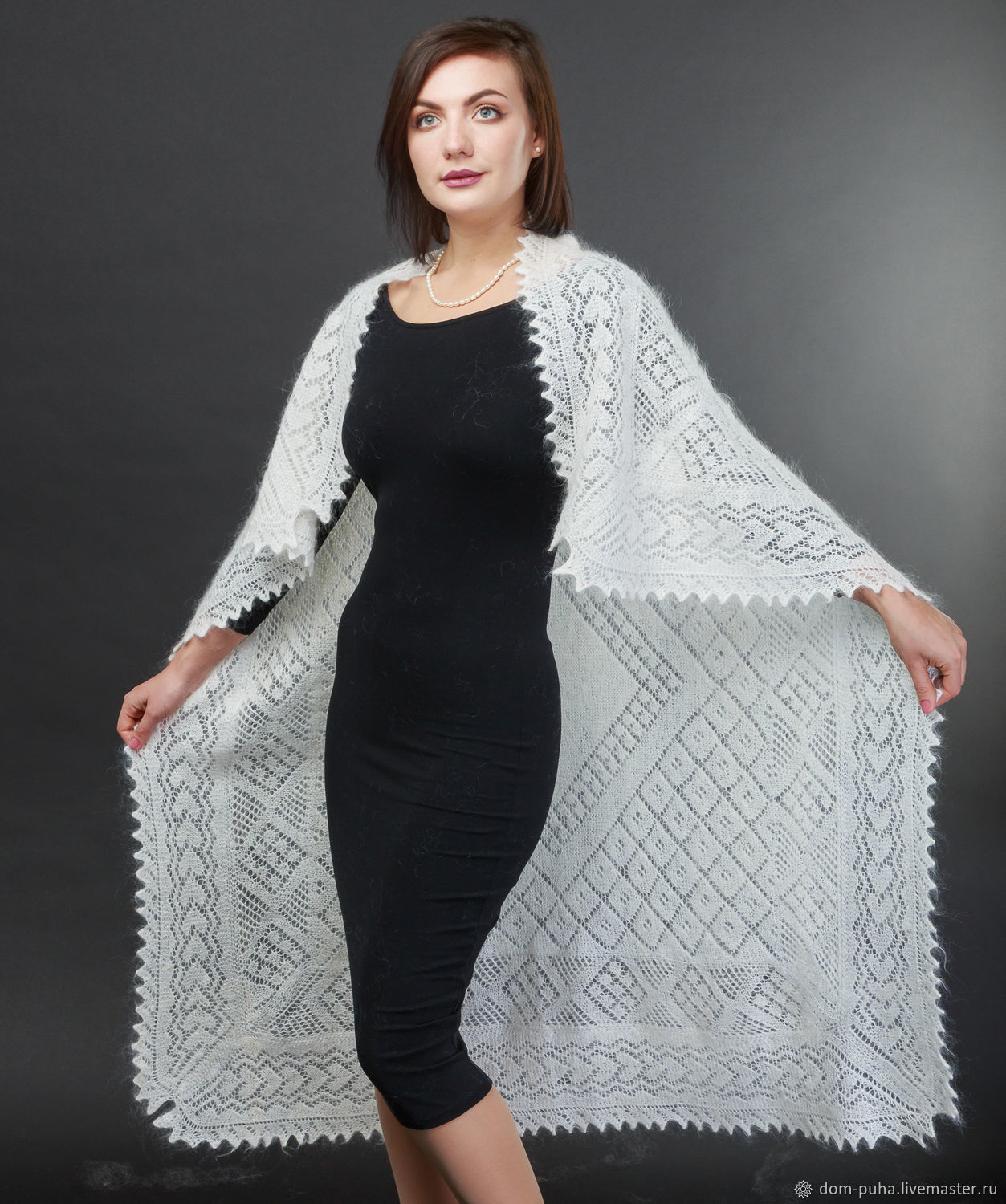 Downy shawl in white with pattern, Shawls, Moscow,  Фото №1