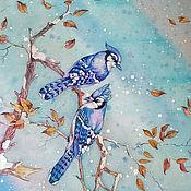 Аксессуары handmade. Livemaster - original item Blue jays silk handkerchief