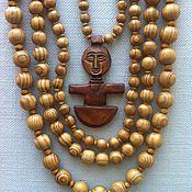 "Украшения handmade. Livemaster - original item Wooden necklace ""in the yellow hot africa"". Handmade."