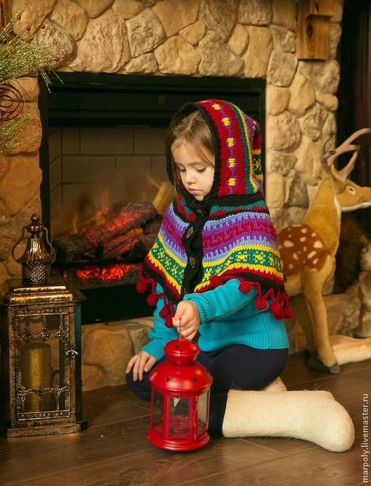 """Одежда для девочек, ручной работы. Ярмарка Мастеров - ручная работа. Купить Накидка """"Эльфийская"""". Handmade. Орнамент, шапка вязаная, эльф"""