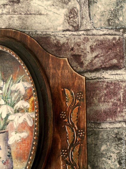 """Прихожая ручной работы. Ярмарка Мастеров - ручная работа. Купить Ключница , вешалка , панно """" Первые цветы"""". Handmade. Коричневый"""