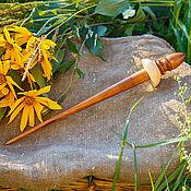 Материалы для творчества handmade. Livemaster - original item Tibetan Spindle support for spinning Siberian Cedar Wood B27. Handmade.