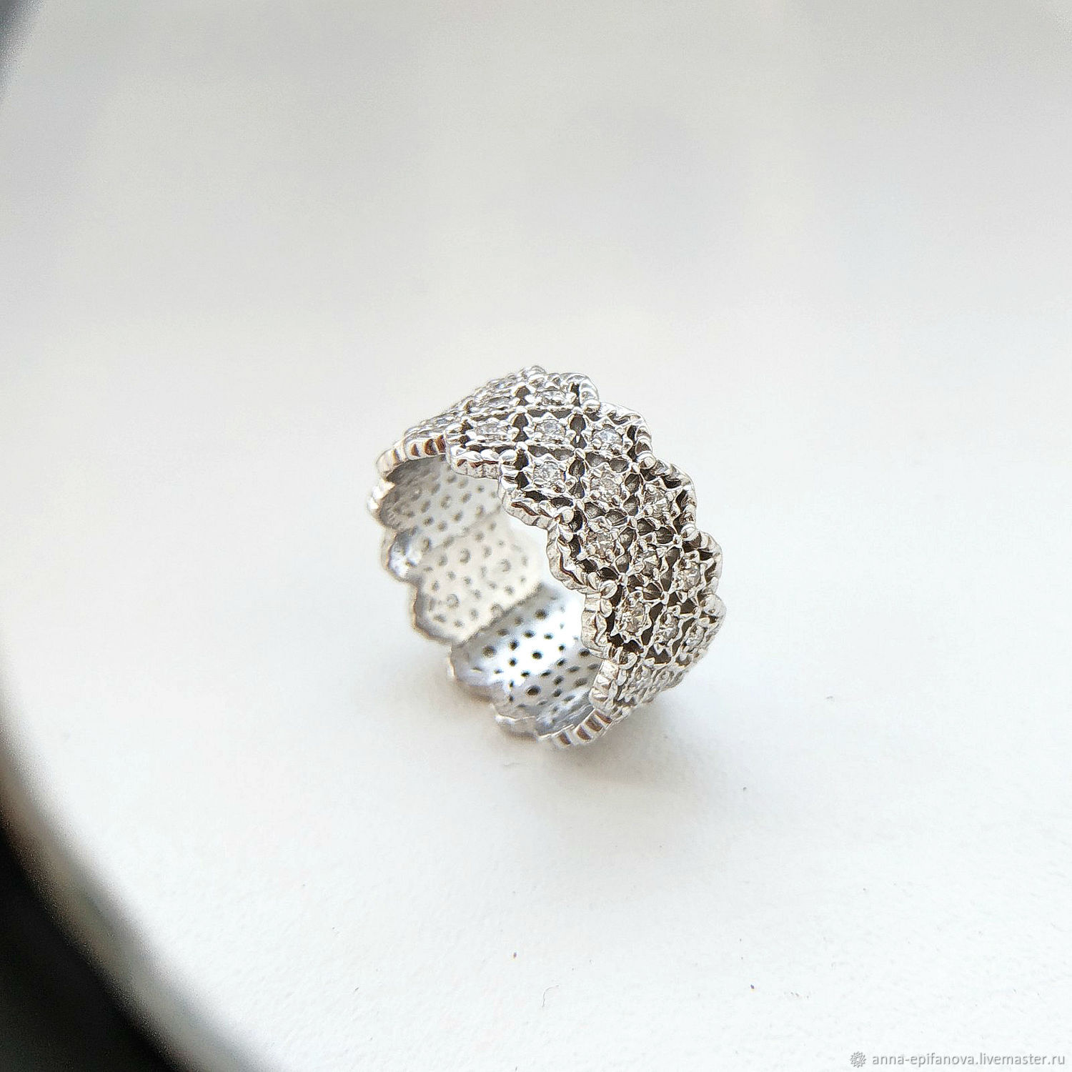 Openwork lace ring made of 925 sterling silver (K28), Rings, Chelyabinsk,  Фото №1