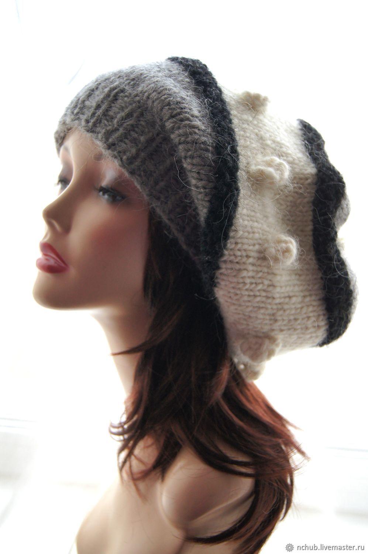 eae811fc37c7f ... Berets handmade. Takes boho knitted Gray-black-and-white bulk of  Icelandic ...