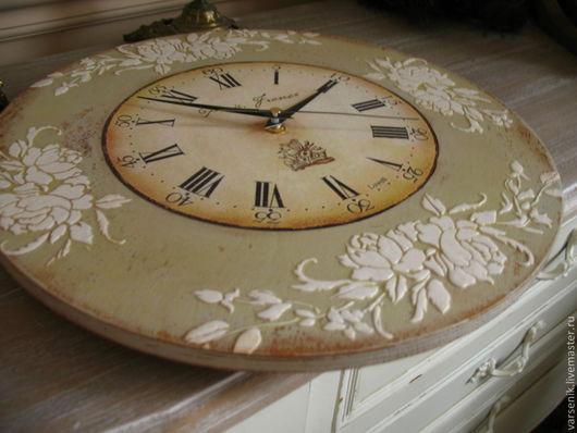 Часы для дома ручной работы. Ярмарка Мастеров - ручная работа. Купить Часы Белые  розы на сером. Handmade. Прованс