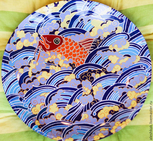 """Тарелки ручной работы. Ярмарка Мастеров - ручная работа. Купить Тарелка декоративная """"Золотая рыбка"""". Handmade. Синий, тарелка настенная"""