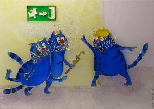 Животные ручной работы. Ярмарка Мастеров - ручная работа. Купить Работяги. Синие коты Рины Зенюк. Витражная картина.. Handmade.