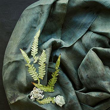 """Аксессуары ручной работы. Ярмарка Мастеров - ручная работа Шелковый шарф """"Лесной"""" экопринт индиго. Handmade."""