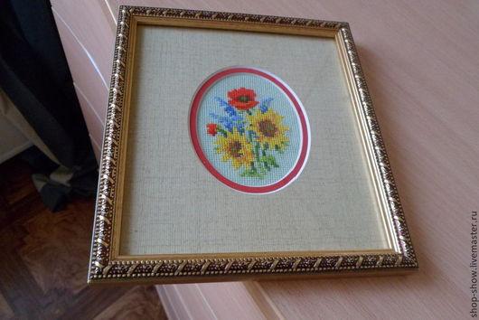 Картины цветов ручной работы. Ярмарка Мастеров - ручная работа. Купить Вышитая картина Полевой  букет. Handmade. Цветы, подсолнухи