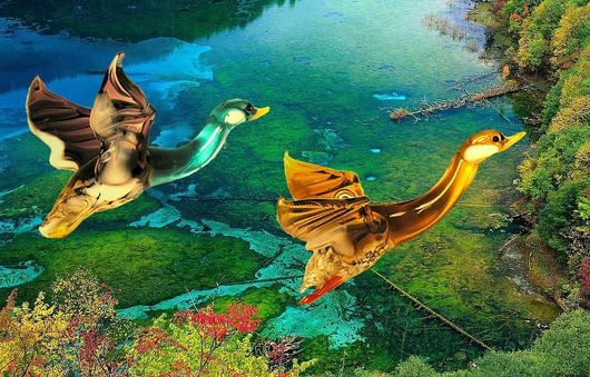 Interior Items handmade. Livemaster - handmade. Buy Interior hanging decoration of colored glass bird Duck.Bird, autumn