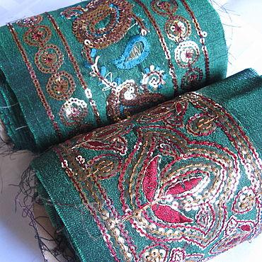 Материалы для творчества ручной работы. Ярмарка Мастеров - ручная работа Широкая винтажная тесьма с ручной вышивкой в восточном стиле. Handmade.