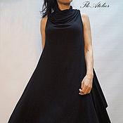 Одежда ручной работы. Ярмарка Мастеров - ручная работа Ассиметричное черное платье/Экстравагантный Топ/F1109. Handmade.
