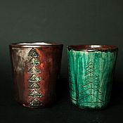 Стаканы ручной работы. Ярмарка Мастеров - ручная работа Стаканы: Стаканы керамические с Елками. Handmade.