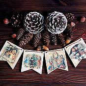"""Подарки к праздникам ручной работы. Ярмарка Мастеров - ручная работа Гирлянда из флажков """"Винтажная"""". Handmade."""