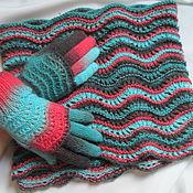 Аксессуары ручной работы. Ярмарка Мастеров - ручная работа Шарф Снуд+перчатки шерсть с шелком (осень зима бирюза коралл серый. Handmade.