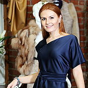 Одежда handmade. Livemaster - original item Dress satin Navy blue long formal asymmetrical. Handmade.