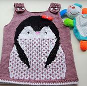 Работы для детей, ручной работы. Ярмарка Мастеров - ручная работа Платье - сарафан  пингвиненок. Handmade.
