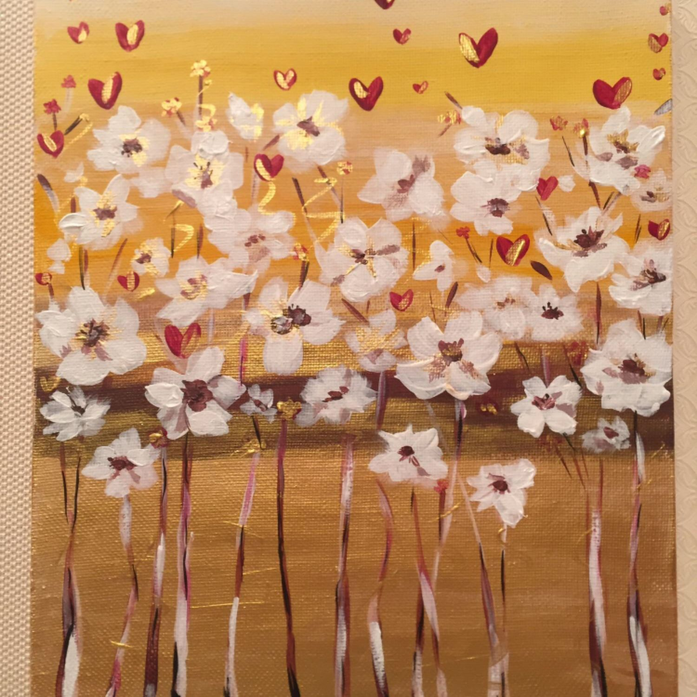 Картины цветов ручной работы. Ярмарка Мастеров - ручная работа. Купить Картина Цветы на золоте акрил. Handmade. Цветы