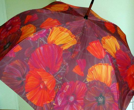 Зонты ручной работы. Ярмарка Мастеров - ручная работа. Купить МАКИ авторский зонт. Handmade. Ярко-красный, авторская работа