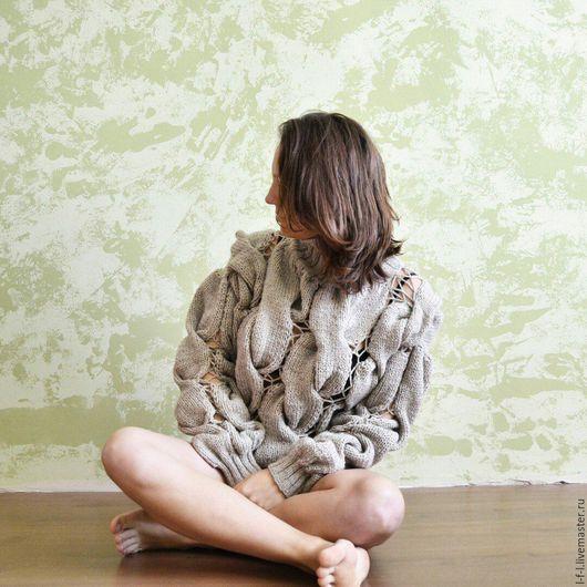 Кофты и свитера ручной работы. Ярмарка Мастеров - ручная работа. Купить Свитер в стиле. Handmade. Бежевый, свитер в дырку, кеслове