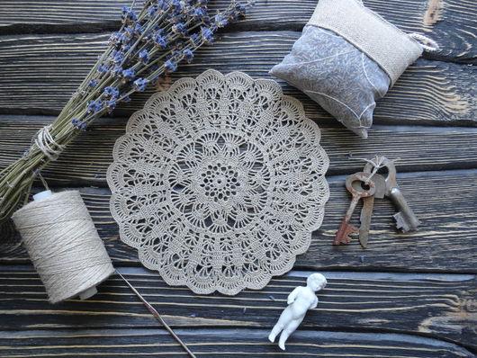 Текстиль, ковры ручной работы. Ярмарка Мастеров - ручная работа. Купить Салфетка лен. Handmade. Серый, вязаная салфетка