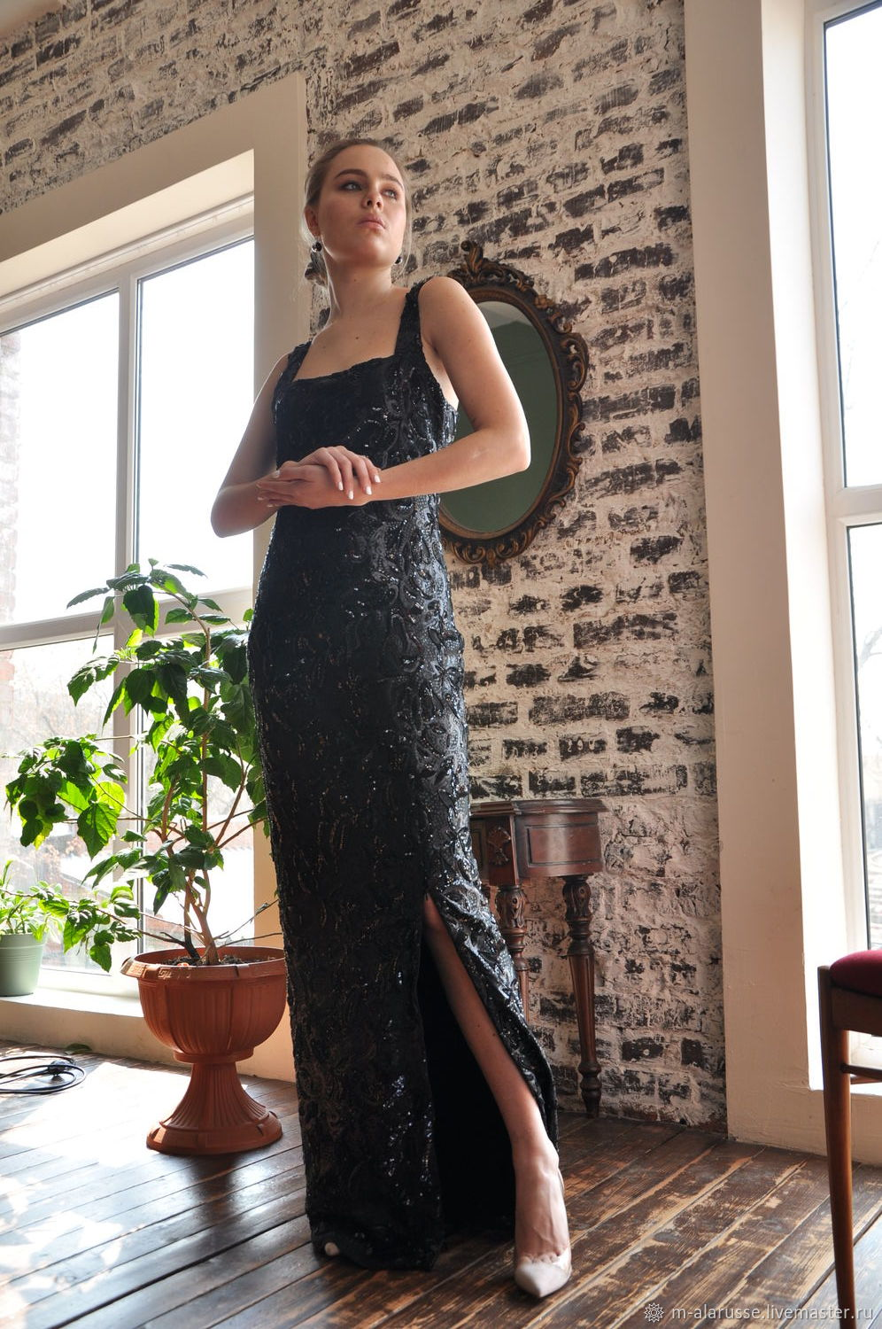 Evening black floor-length sequin dress, Dresses, Moscow,  Фото №1